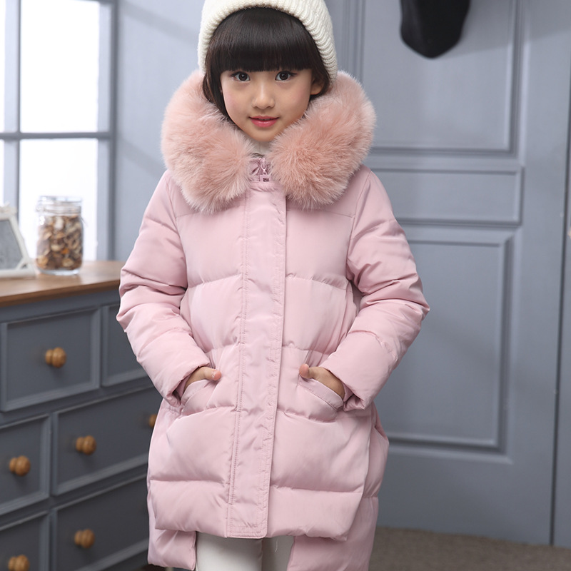 Girls winter 2018 new fashion big boy little girl thick cotton coat