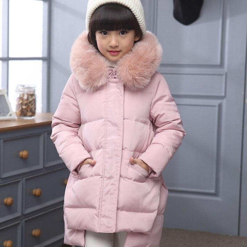 Mode enfants doudoune russie veste d'hiver pour filles épais canard vers le bas vêtements d'extérieurs pour enfant pour froid-30 degrés veste manteau chaud
