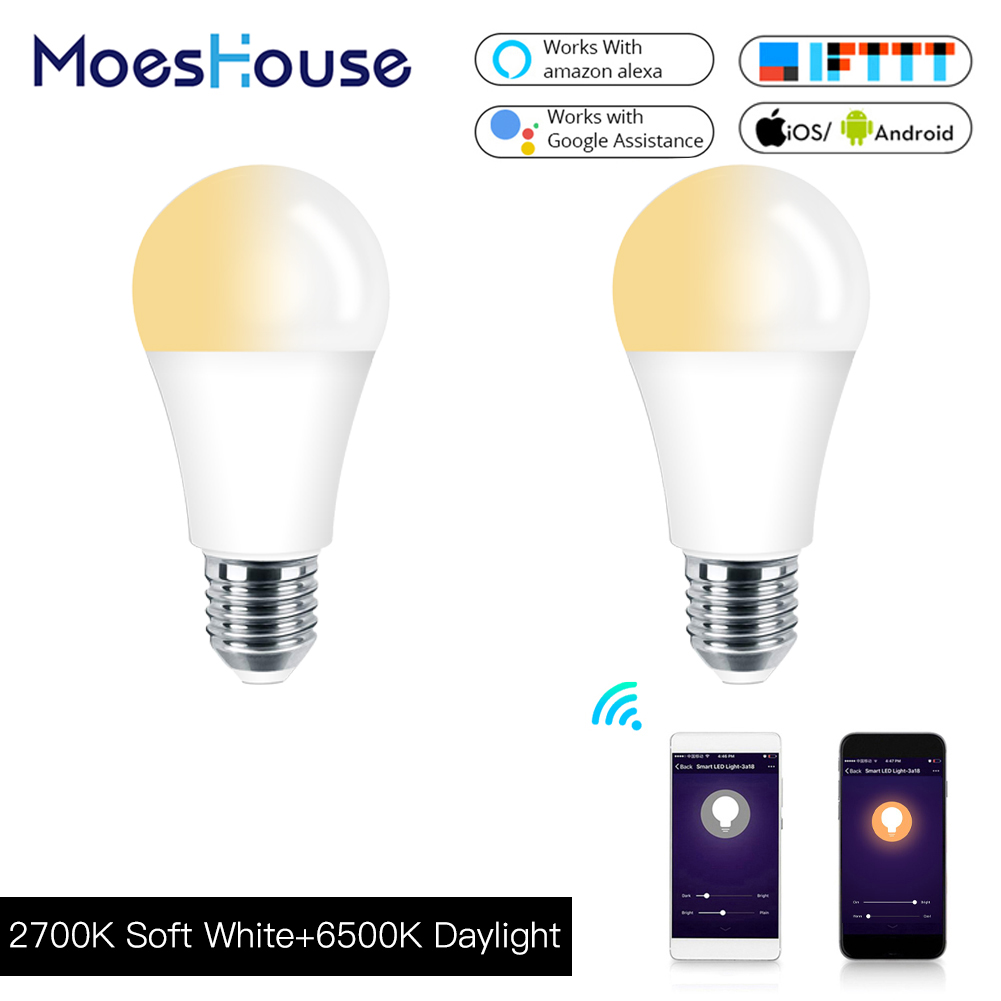 WiFi Smart Light Bulb LED Lamp 60W Equivalent Smart Life/Tuya APP Remote Control Works With Alexa Echo Google E27 E26 7W