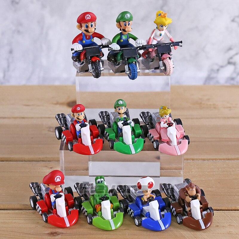 10pcs//lot Super Mario Bros Kart Pull Back Car Mario Luigi Yoshi Toad Mushroom