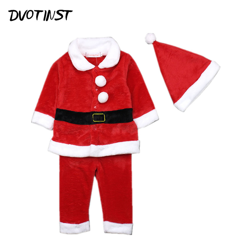 Baby Clothes Red Santa Claus Christmas xmas Tops+Trouser+Hat Set Playsuit Outfit Infantil Toddler Gift Jumpsuit Unisex Costume