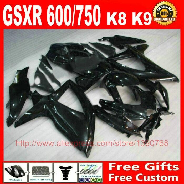 + Kit carenatura per Suzuki GSXR600 GSXR 750 08 09 10 tutti glossy nero ABS carenature set K8 K9 GSXR 600 750 2008 2009 2010 GZ60