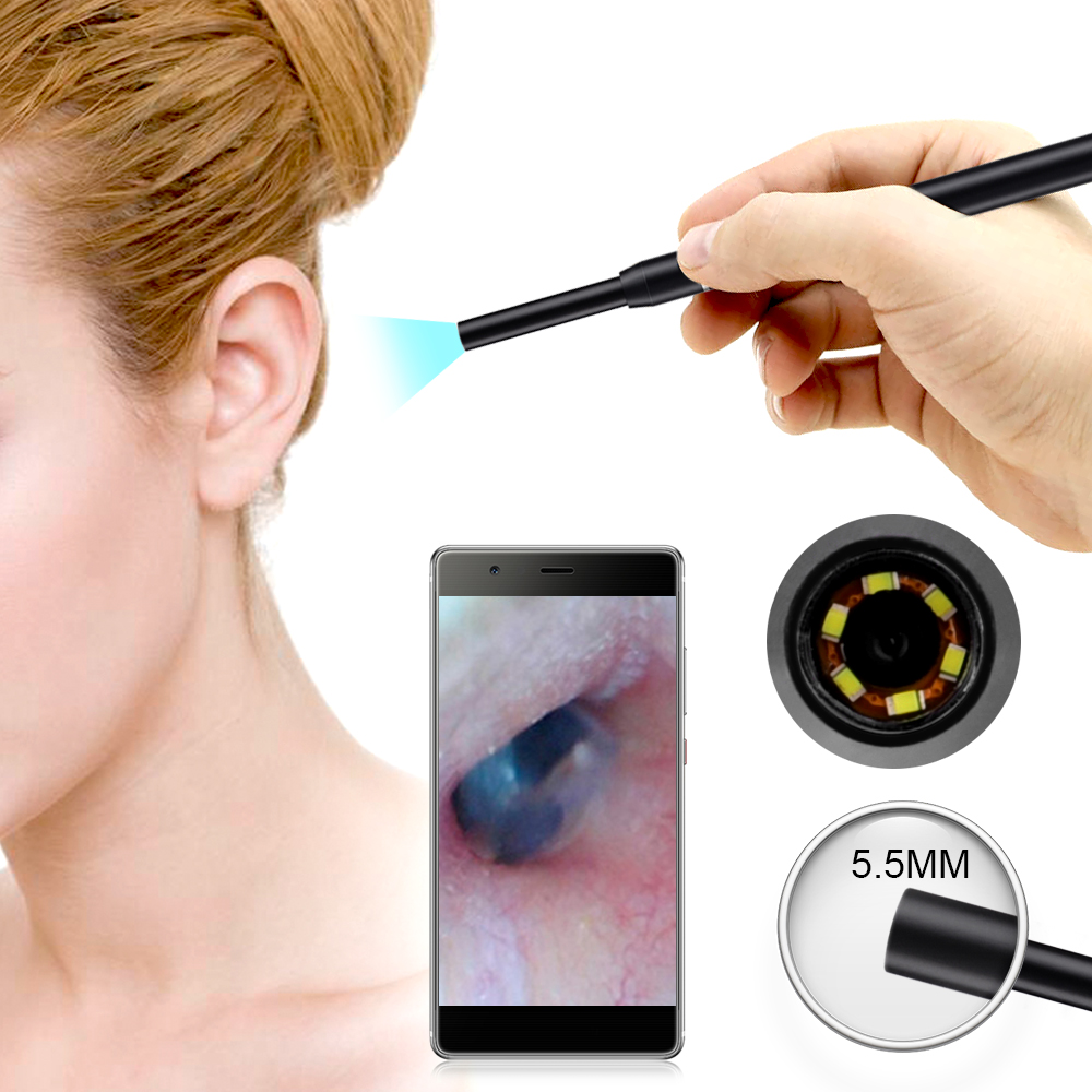 5.5mm Camera With 6 LED Borescope WIFI Ear Otoscope Ear Cleaning Endoscope HD Visual Ear Care Spoon for iPhone Android IPad PC