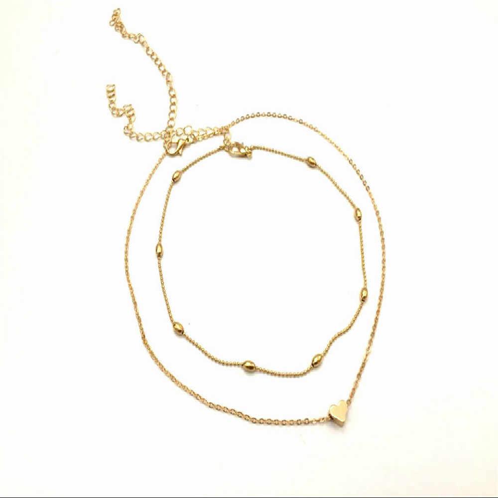 Новое серебряное Золотое ювелирное изделие, ожерелье с сердечком и кулоном, чокер с двойной цепочкой, ожерелье, воротник для женщин, массивное ювелирное изделие