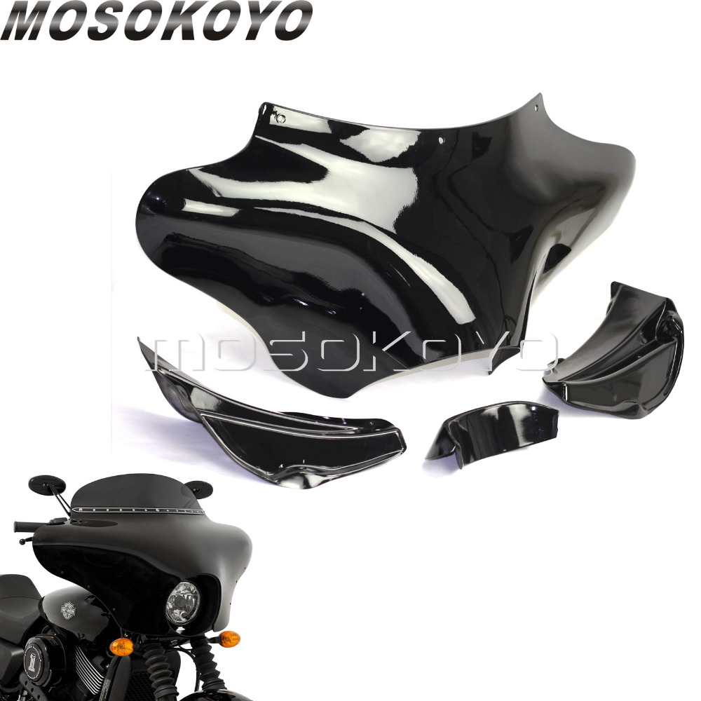 Fiberglass Black Custom Chopper Front Outer Batwing Fairing for Harley Softail Road King Cruiser Yamaha Kawasaki