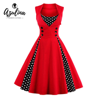 AZULINA Vintage Retro Women Dress Sleeveless Polka Dot 2017 Summer Party Evening Vestido Elegant Ladies Red