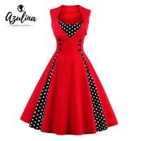AZULINA Vintage Retro Women Dress Sleeveless Polka Dot 2017 Summer Party Evening Vestido Elegant Ladies Red
