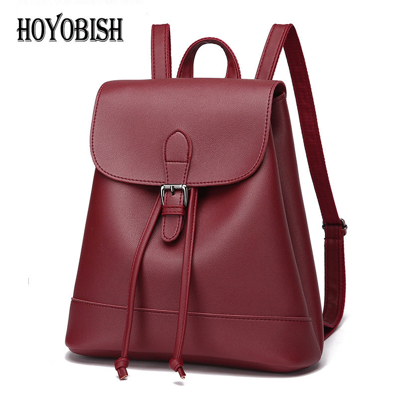 HOYOBISH Women Backpack High Quality Pu Leather School Bags Teenage Girl Backpack For School Female Schoolbag