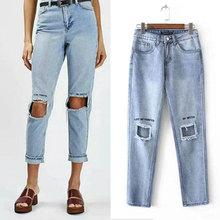 2017 Новый летний отверстие рваные джинсы женщины брюки Прохладный джинсовые карандаш джинсы для девочки середине талией случайных брюки женские