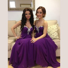 Sexy Purple A Line Pleated Rhinestone Bridesmaid Dresses 2016 Long Chiffon Maid of Honor Party Prom Gowns vestido madrinha BR49