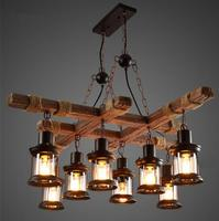 Деревянная люстра Лофт гостиная ресторан бар ретро промышленного ветер необычная люстра E27