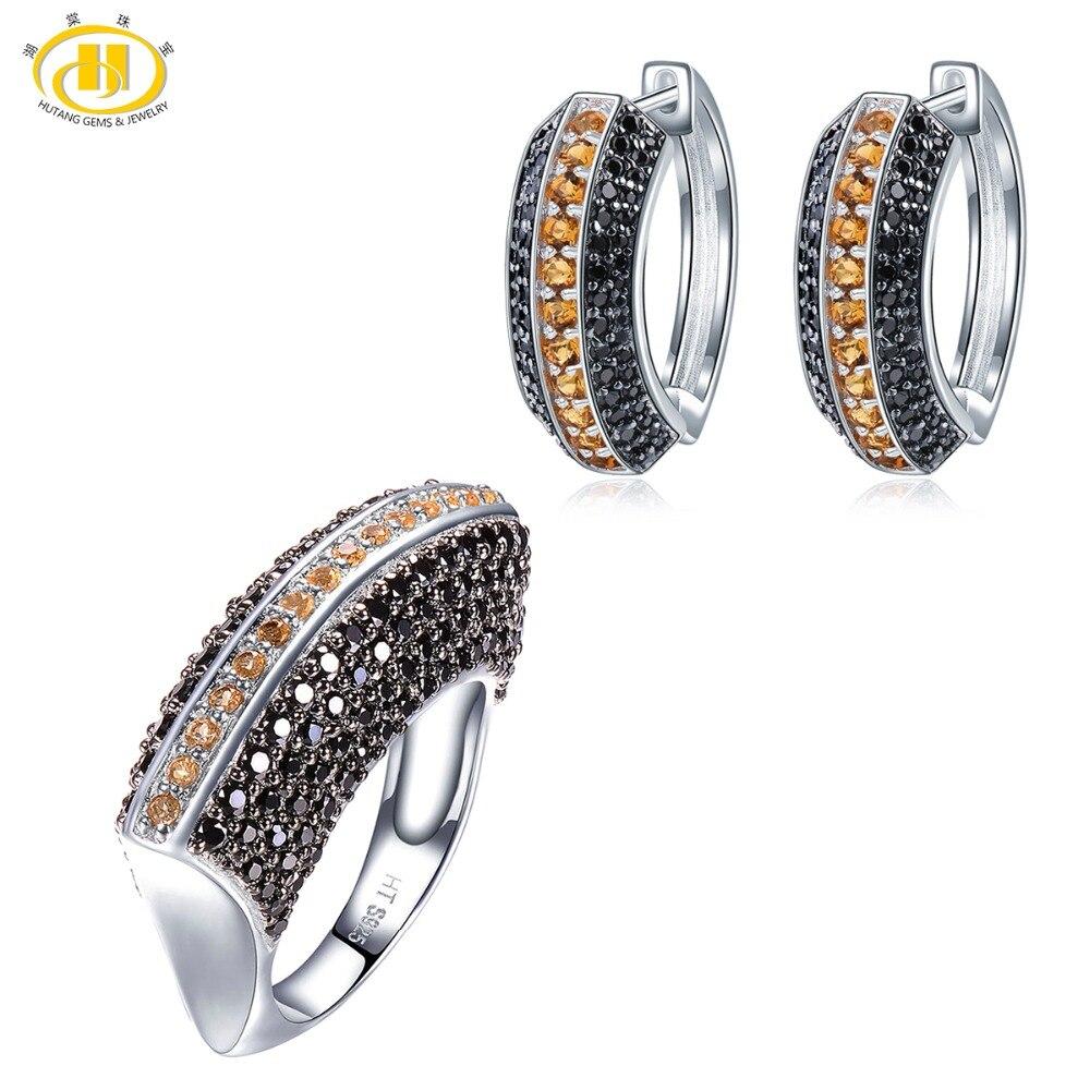 Hutang anneau boucles d'oreilles ensembles de bijoux naturel Multi pierre gemme Citrine noir spinelle 925 en argent Sterling bijoux fins pour les femmes nouveau