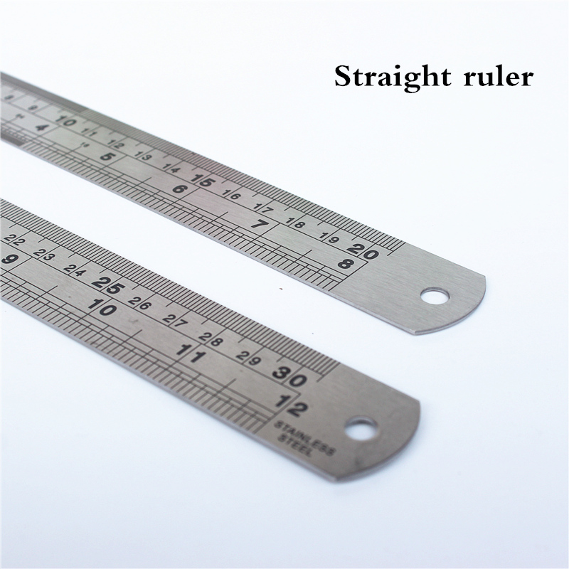 1PC Stainless Steel Straight Ruler Fine Inch And Centimeter Scale Office Student Drawing Line Tool High Precision Measurement