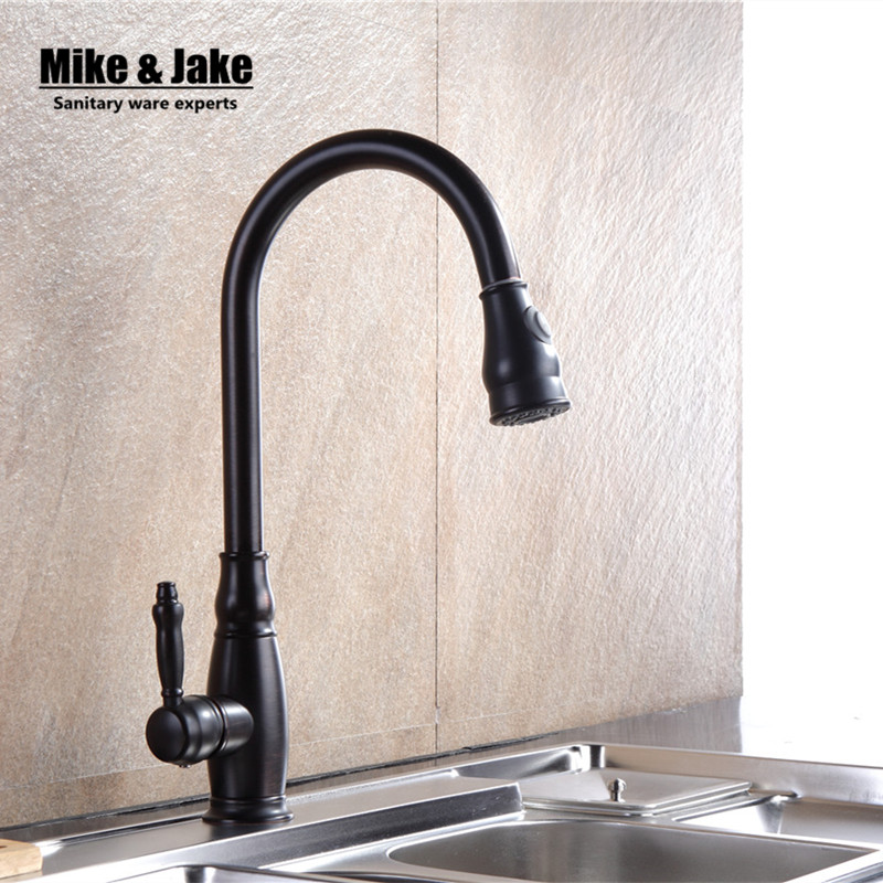 цена Luxury Black Pull Down Kitchen Faucet Wholesale New Arrival Solid Brass Swivel Pull Out Spray Gooseneck ORB Sink Mixer Tap MJ915