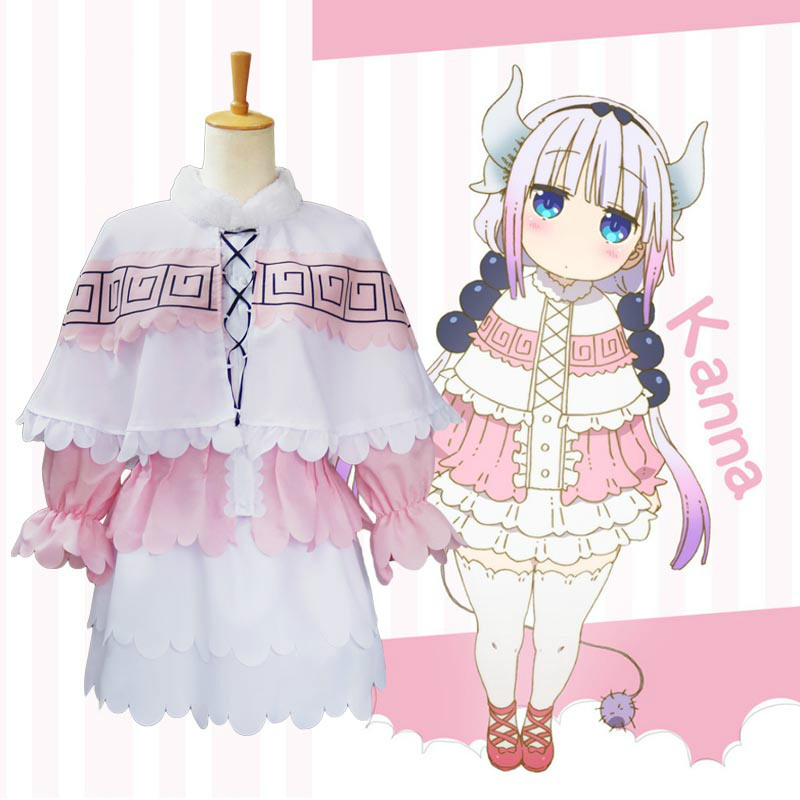 Anime Miss Kobayashi's Drago Maid Kanna Suit Cosplay Costumes Wig Headwear for Girls Woman Halloween Party Fancy Dress  Cosplay
