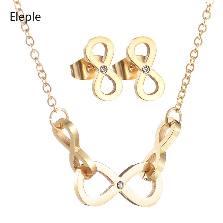 Eleple Fashion interlocking Micro Zircon Inlaid Necklace Earring Set for Women Party Gifts Stainless Steel Jewelry Set S S003 in Jewelry Sets from Jewelry Accessories