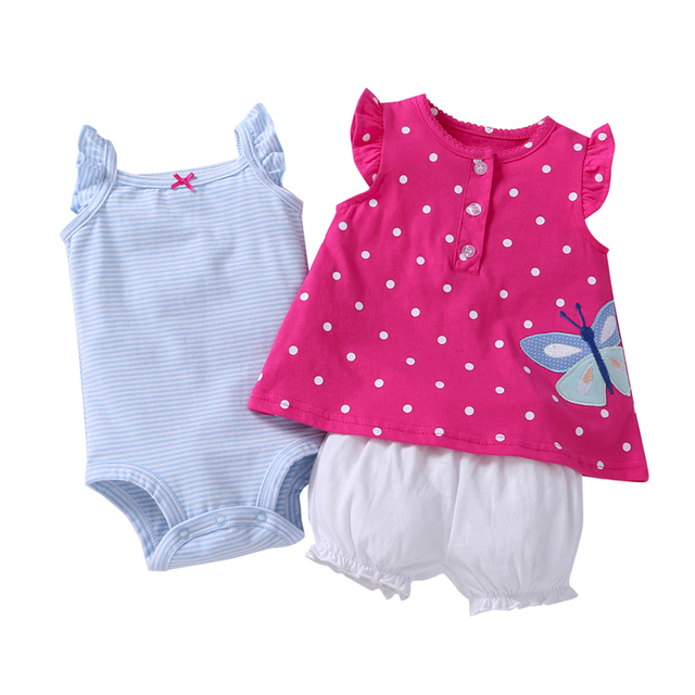 summer Baby girl clothes sleeveless dot T shirt tops+bodysuit+shorts clothing set newborn outfit 2019 new born suit cotton 4