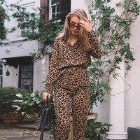 European Style Casual Womens Leopard Jumpsuit Long Sleeve Lady S M Belt Outwear Ankle length Pants Trousers