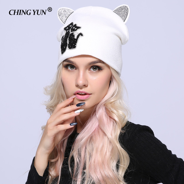 New Winter Women Knitted Hats Lady Warm Caps Diamond Kitty Cat Ears Solid Thicker Girls Cap