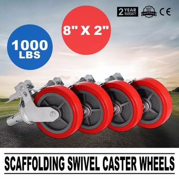 """4 Scaffolding Frame 8"""" Polyurethane Rubber Caster Wheels with Double Step Locks"""