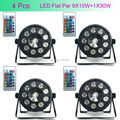 4 Pcs 9X10W+1X30W RGB COB 3IN1 Wireless Remote Control Led Flat Par Light Wireless 7 DMX LED Stage Light Powered Led Flat Par