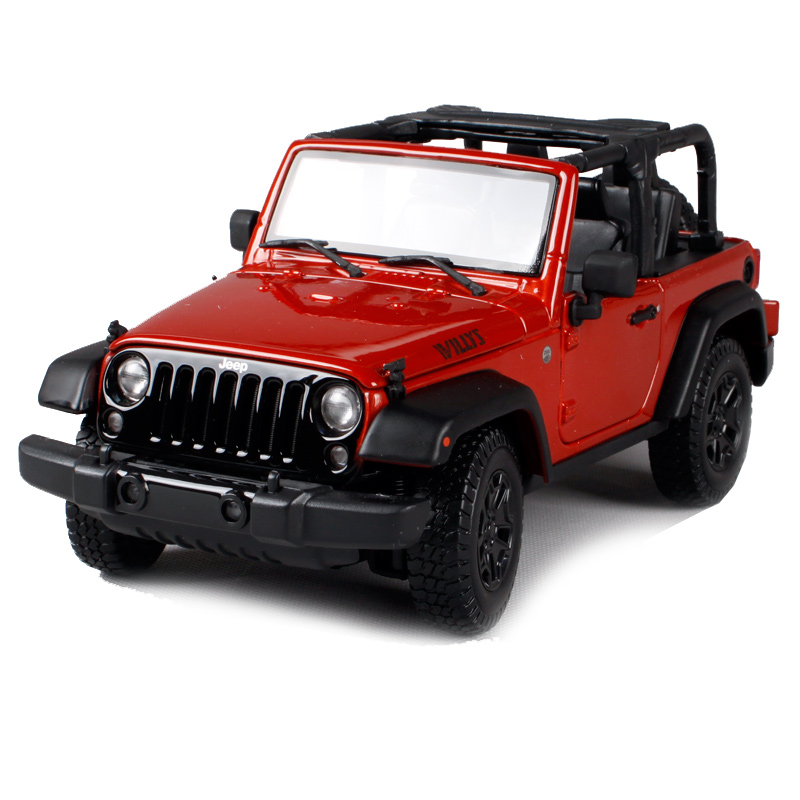 цена на Maisto 1:18 2014 jeep wrangler willys white red car diecast big jeep toy model for men collecting cool car model as gift 31610