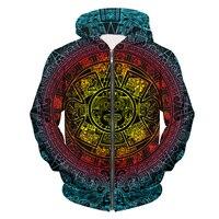 YX GIRL 2018 New Fashion Hoodies Psychedelic Trippy Visionary Zip Hoodie Mayan Totem 3D Print Mens Womens hooded Sweatshirt