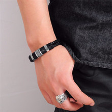Men's Punk Style Braided Leather Bracelet with Magnetic Clasp