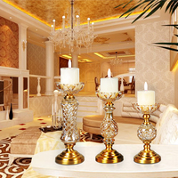 luxury Wedding Candelabra Centerpieces Center Table Candlesticks Parties Decor K9 Crystal Candle Lantern Gold Candle Holders