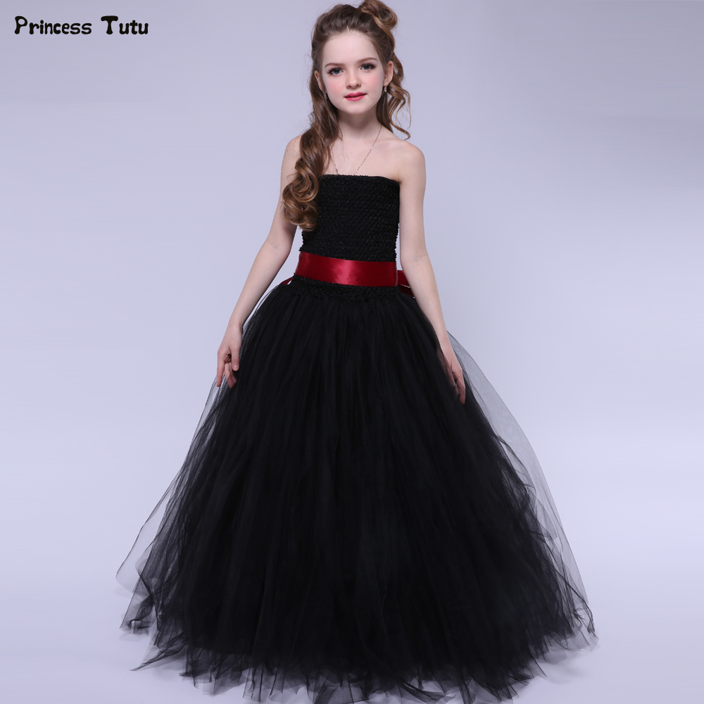Black Girls Tutu Dress Elegant Princess Tulle Girl Wedding Birthday Party Dress Halloween Costume For Kids Girl Ball Gown Dress party girl dress 2017 new kids girls trailing dress with bow knot child birthday surprises girls wedding princess costume 2 12t