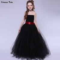 Preto Tutu Meninas Elegante Vestido de Princesa de Tule de Casamento Menina Vestido de Festa de Aniversário vestido de Baile Vestido de Traje de Halloween Para Crianças Menina