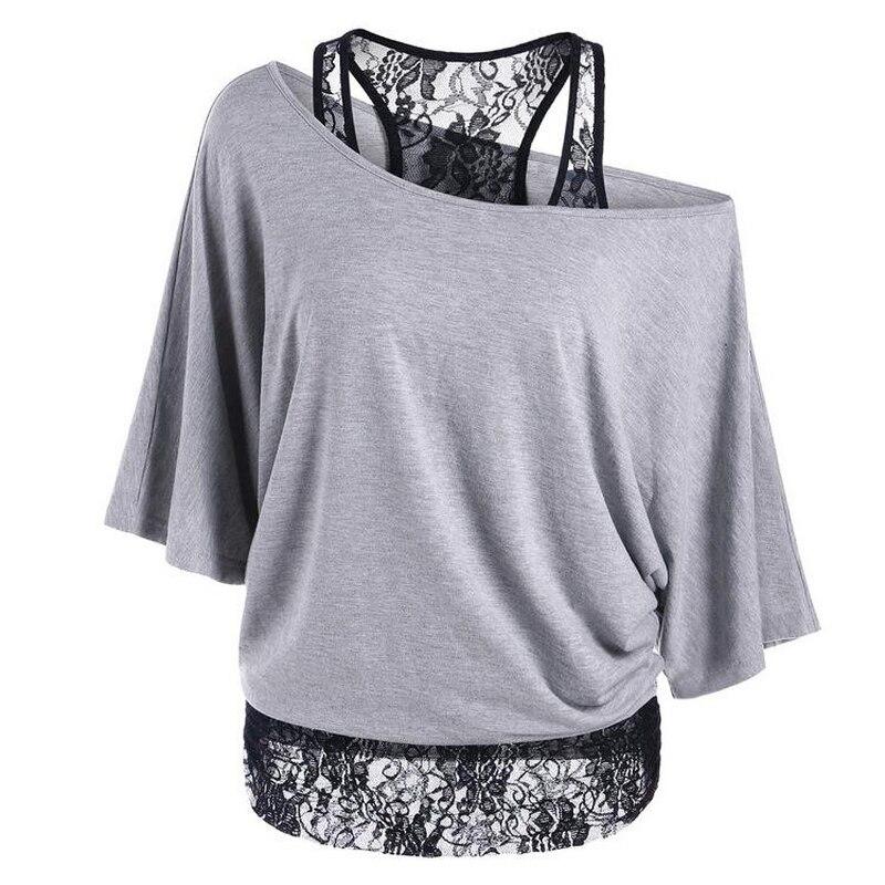 S 5XL Oversize Tshirt Women 39 s Clothing Summer Top Streetwear Sexy Irregular Women T shirt Lace Vest 2pc Bat Sleeve T shirt Blue in T Shirts from Women 39 s Clothing