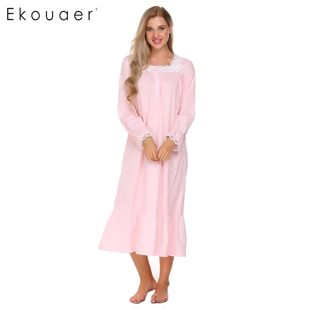 Ekouaer Elegant Solid Nightwear Women Victorian Nightgown Long Sleeve Sleepwear Lace Patchwork Ruffled Hem Night Dress Plus Size 1