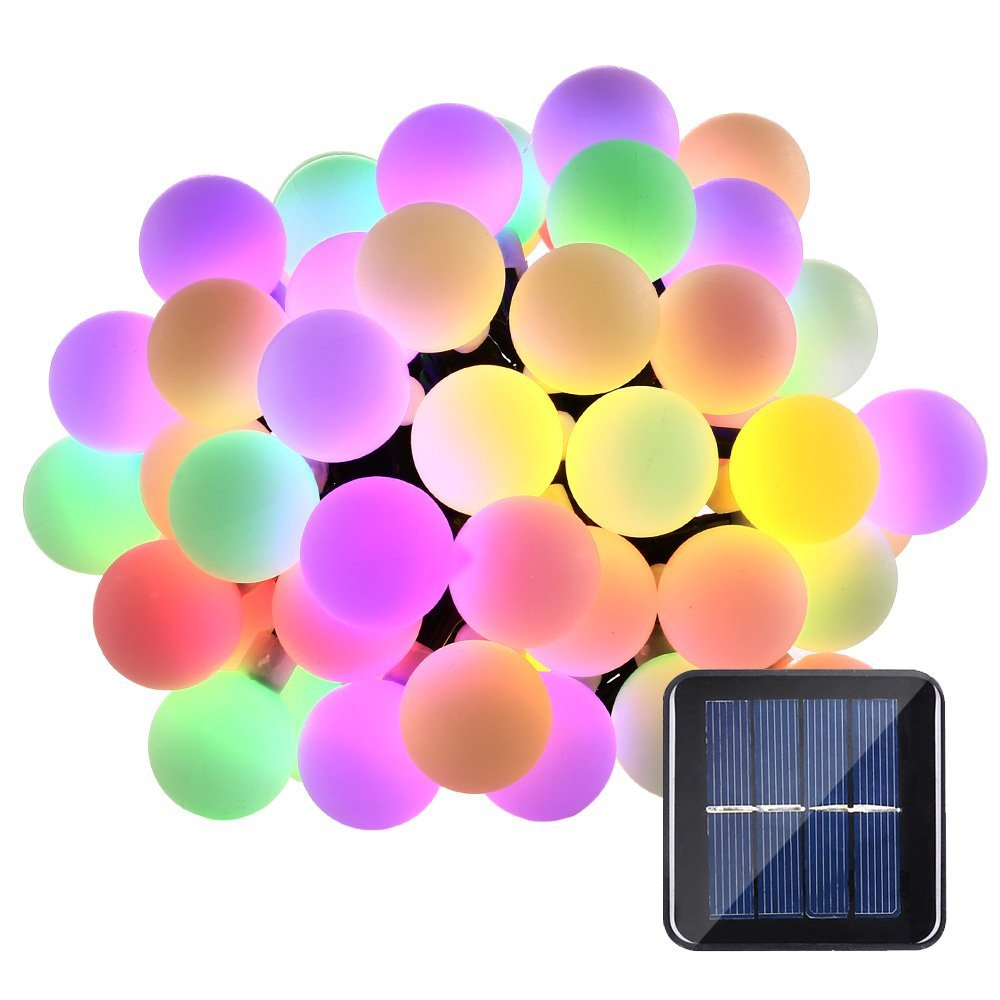 Outdoor Bistro Solar Powered Globe String Lights: Solar Globe 50 LED Ball String Lights Solar Powered