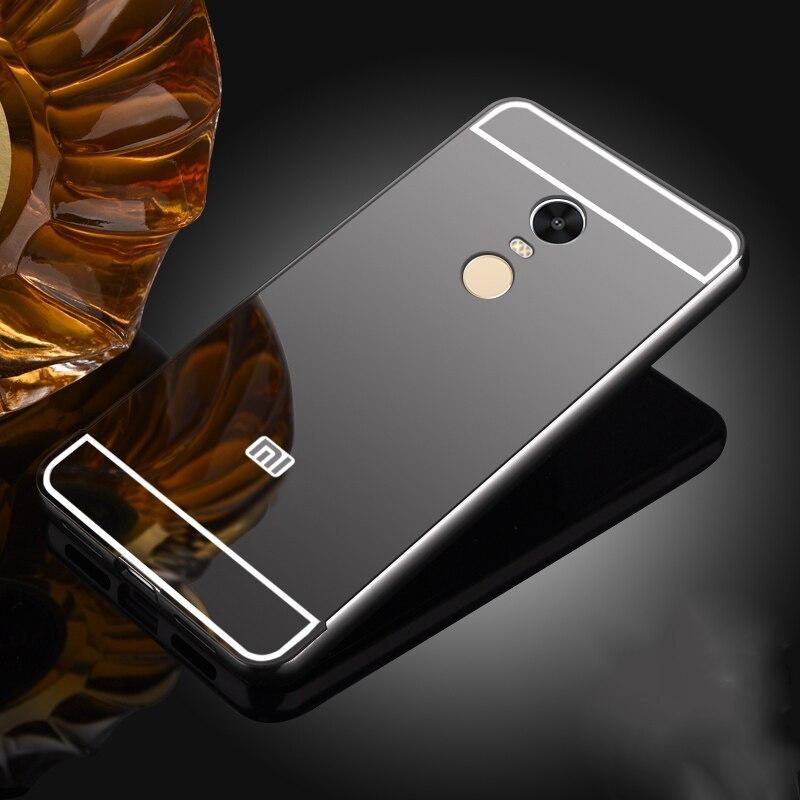 Pour Xiaomi Redmi Note 4X Cas Miroir de Couverture Arrière et En Aluminium En Métal Cadre Fundas Pour Redmi 4A Note 5A 5 6 Plus Mi A1 5X Premier