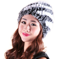 Trendy Elegant Style  Women Headgear Winter Knitted Fur Caps Warm Hats Natural Rex Rabbit Fur Hat
