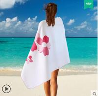 Lady Bath Towel hot pink flower polyester beach towel adult sport travel towels 80x160cm Drying Bath Towels