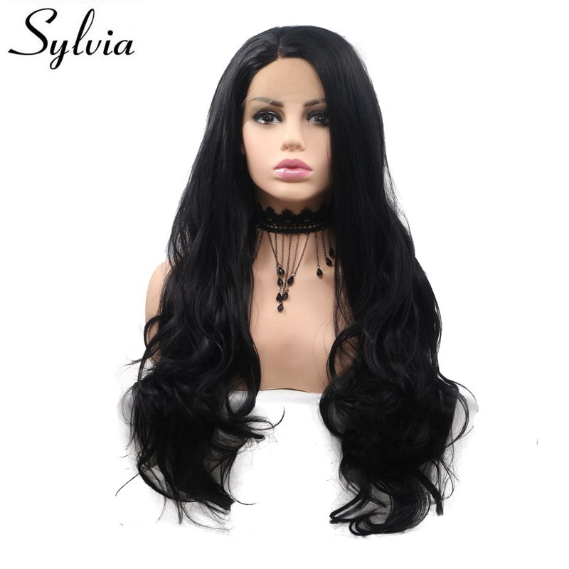 Sylvia Heat Resistant Fiber Hair Long Wavy Wig Black Synthetic Lace Front Wig For Women Middle