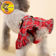 plaid grid pattern Scotland style Pet Dog Menstruation Underwear New Female Pet Cute skirt Diaper red