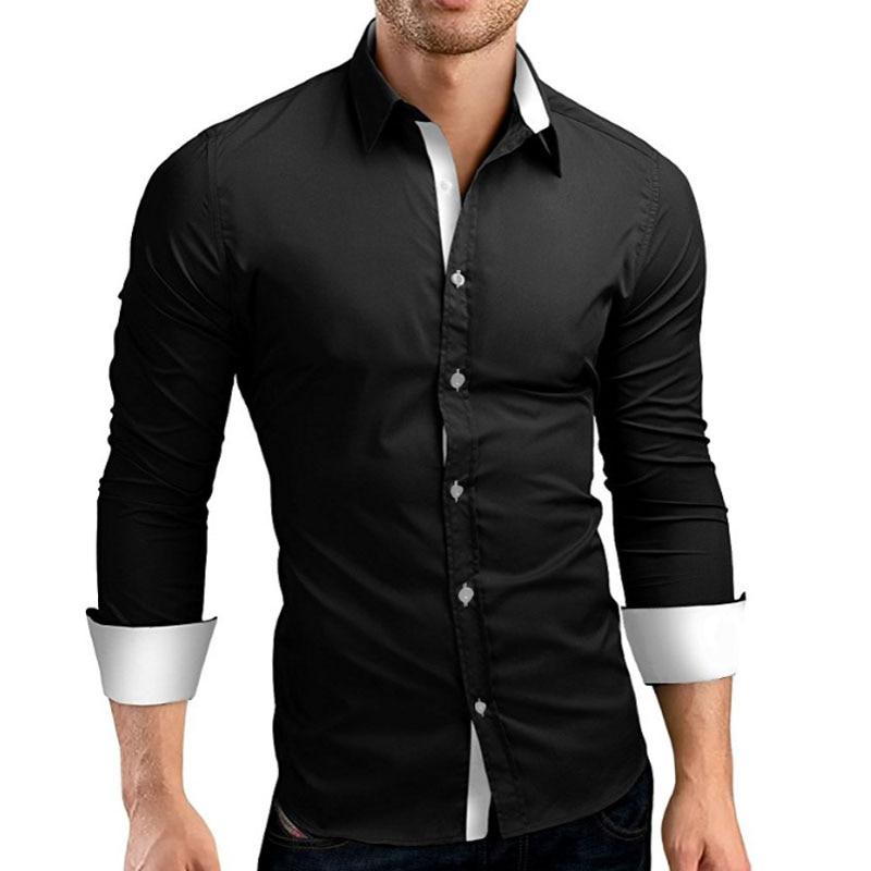 QINGYU Hombres Camisa de Marca 2018 Hombre de Alta Calidad Camisas de manga larga Casual Hit Color Slim Fit Negro Hombre Camisas de Vestir 4XL C936