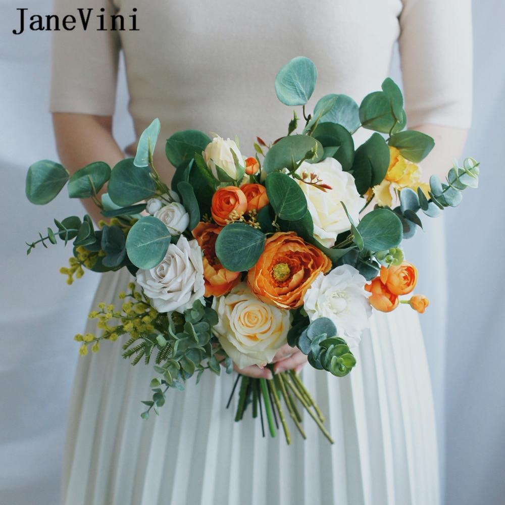 JaneVini Vintage Orange Bouquets De mariage fleurs De mariée vraie touche artificielle soie Roses Ramo De Novia mariée accessoires De mariage