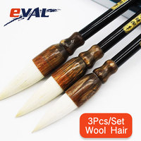 Eval 3PCS Set Traditional Chinese Bamboo Calligraphy Pen Woolen Hair Writing Painting Brush For Artist Drawing School Student