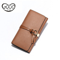 Korean version of the first hot leather lychee pattern fashion leather wallet retro belt decoration ring hardware handle bag