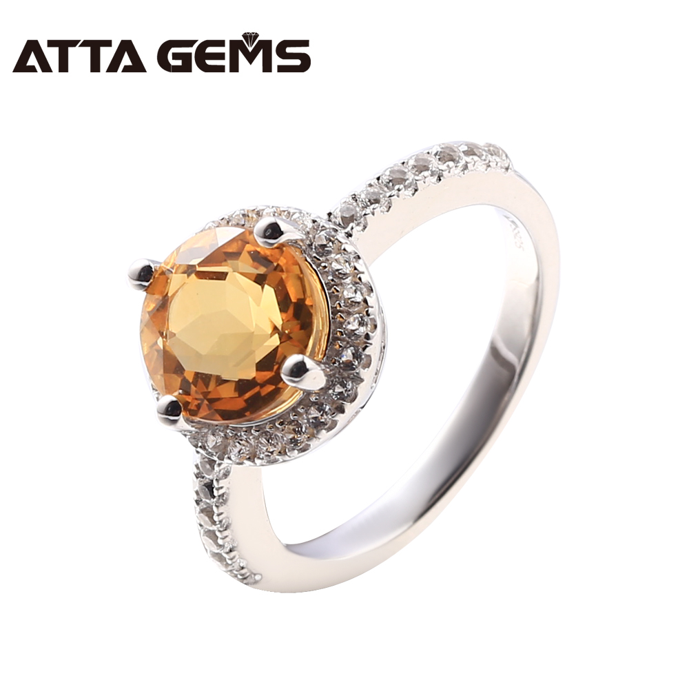 купить Natural Citrine Silver Women Rings 2.8 Carats Natural Yellow Crystal Fine Jewelry Design Natural Gemstone Fortune Luck Stone по цене 3139.44 рублей