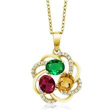 Huitan Elegant colorful Pendant Necklace Origin Factory Sale Three Color Cubic Zircon Stone Trendy Popular Jewelry
