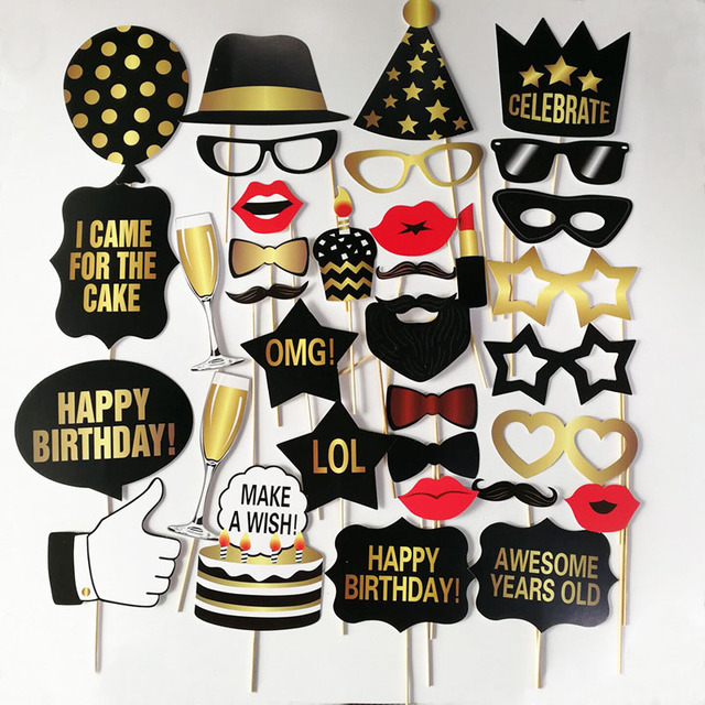 Us 5 81 18 Off Birthday Party Photo Props Happy Birthday 30 Years Old 40 Years Old 50 Years Old 60 Years Old Happy Birthday Fun Photo Props In