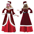 Red Santa Claus Christmas Costume Cosplay Velvet Long Halloween Dress Christmas Hat Adult Costume Dress