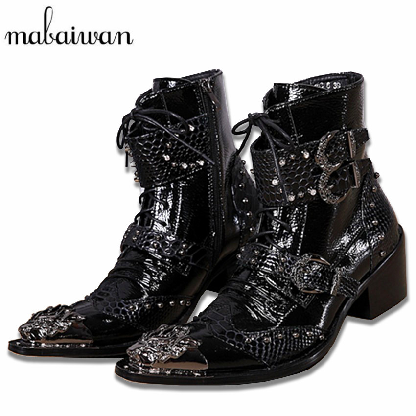 Mabaiwan Handsome Genuine Leather Men Ankle Boots Metal Pointed Toe Lace Up Mens Oxford Shoes Cowboy Boots High Top Botas Hombre