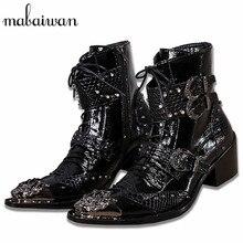 Mabaiwan красивый Пояса из натуральной кожи мужские полусапоги из металла острый носок Кружево до Мужские туфли-оксфорды ковбойские ботинки высокие сапоги для мужчин