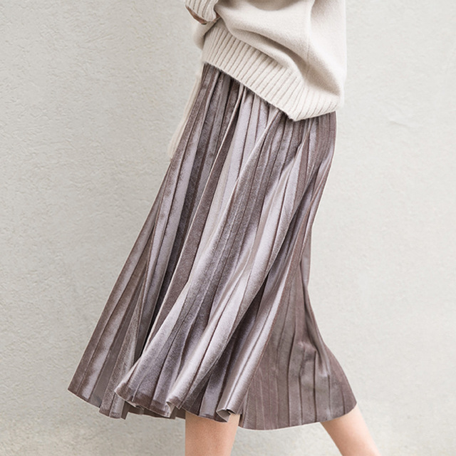 Long Wool Harajuku Metallic Skirts For Winter Womens Unif Flared Pleated Skirts  Gray Black 6 Colors Faux Suede High Quality